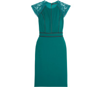 Vanya Leather-trimmed Lace And Crepe Dress Türkis