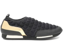 Quilted neoprene and leather slip-on sneakers
