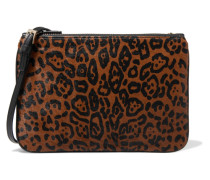 Printed Calf Hair And Leather Shoulder Bag Braun