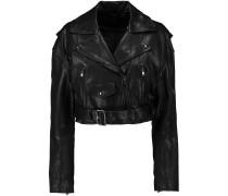 Anesia Belted Leather Jacket Schwarz
