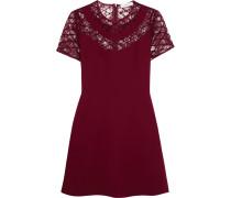Ravel Embroidered Lace-paneled Crepe Mini Dress Bordeaux