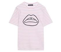 Ivy Gestreiftes T-shirt aus Stretch-ponte mit Stickereien