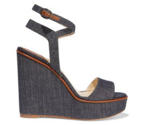 Laura leather-trimmed denim wedge sandals