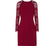 Janelle Lace-paneled Crepe Dress Bordeaux