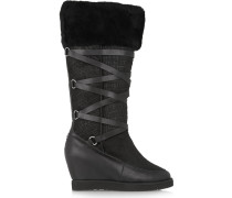 Moscow Croc-effect Shearling Wedge Boots Schwarz