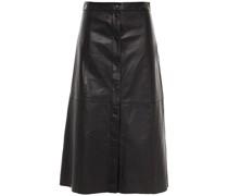 Popper Textured-leather Midi Skirt