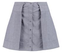 Pleated Cotton-chambray Mini Skirt Grau