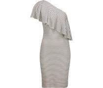 Hadley One-shoulder Striped Ribbed Stretch-modal Dress Weiß