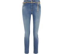 Chain-embellished Mid-rise Slim-leg Jeans