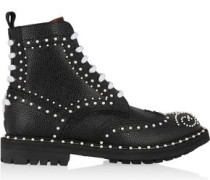 Ankle boots in faux pearl-embellished black textured-leather