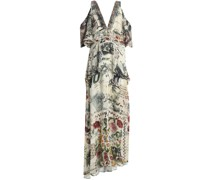 Cold-shoulder Crystal-embellished Printed Silk Crepe De Chine Maxi Dress