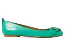Mini Miller Textured-leather Ballet Flats Jade