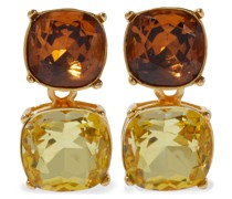 22-karat Gold-plated Crystal Clip Earrings