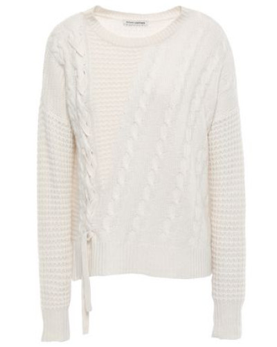 Waffle And Cable-knit Sweater Cream
