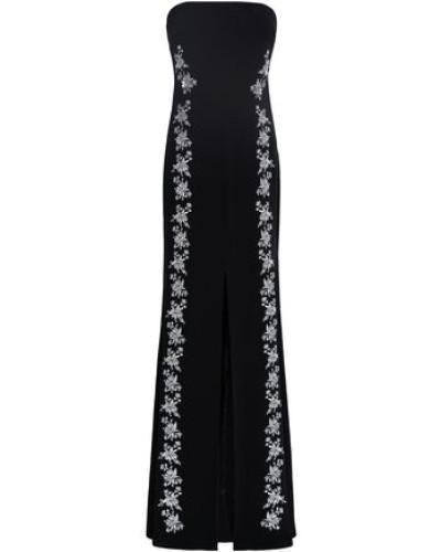 Woman Eva Strapless Embroidered Crepe Maxi Dress Black