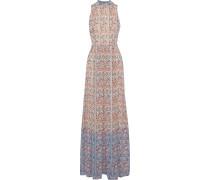 Floral-print Jacquard Gown
