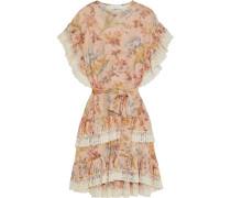 Espionage Pleat Frill Kleid aus Crêpe mit Spitzenbesatz und Blumenprint