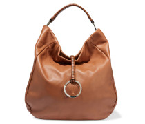 Hobo Textured-leather Shoulder Bag Braun