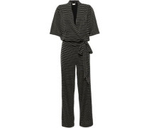 Wrap-effect Metallic Striped Jersey Jumpsuit Black