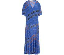 Asymmetric Printed Satin-crepe Midi Dress