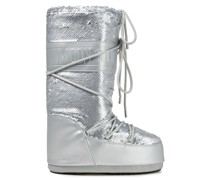 Sequined Metallic Leather And Woven Snow Boots
