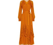 Mercy Bedrucktes Maxi-wickelkleid aus Seiden-georgette mit Rüschen