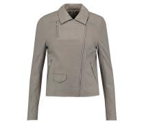 Textured-leather Biker Jacket Grau