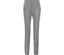 Gingham Wool-twill Straight-leg Pants
