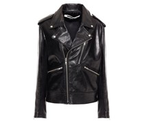 Zip-detailed Glossed-leather Biker Jacket