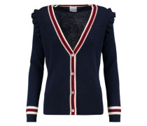 Corfu ruffle-trimmed wool and cashmere-blend cardigan