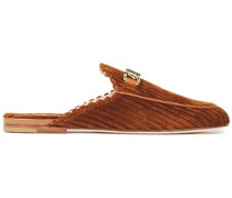 Leather-trimmed Embellished Corduroy Slippers