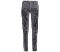 Metallic Zebra-print Mid-rise Skinny Jeans
