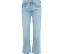 Woman Maya Cropped Frayed Mid-rise Bootcut Jeans Light Denim