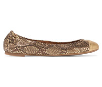 York Metallic Snake-effect Leather Ballet Flats Gold