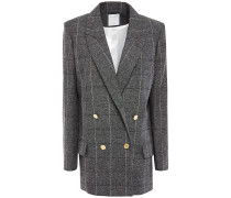 Double-breasted Checked Woven Blazer