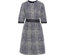 Lace-trimmed Checked Tweed Dress
