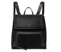 Leather And Pinstriped Suede Backpack Schwarz