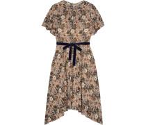 Asymmetric Velvet-trimmed Printed Crepe De Chine Dress