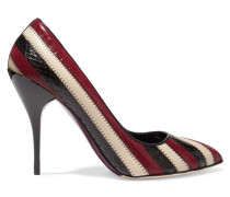 Fallon Textured, Snake-effect And Smooth Leather Pumps Burgunder
