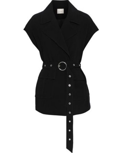 Woman Belted Crepe Jacket Black