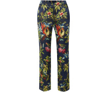 Woman Tartaro Printed Hammered-silk Straight-leg Pants Navy