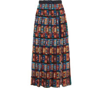 Shell and lace-trimmed pleated printed chiffon maxi skirt