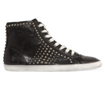 Kira Studded Textured-leather Sneakers Schwarz