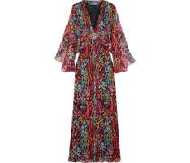 Ruffled printed silk dress