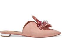 Disco Flower Appliquéd Suede Slippers