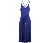 Galactic Cutout Plissé-satin Midi Dress Kobaltblau