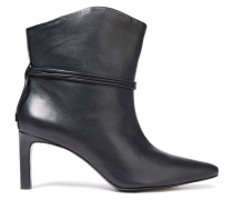 Tie-detailed Leather Ankle Boots