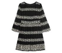 Two-tone Printed Silk-blend Jacquard Mini Dress Schwarz