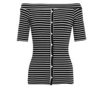 Off-the-shoulder Striped Jersey Top Black