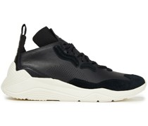 Gishiki 3.0 Suede-trimmed Perforated Leather Sneakers
